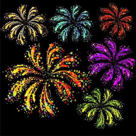 celebration eve: Brightly colorful fireworks isolated on black background Illustration