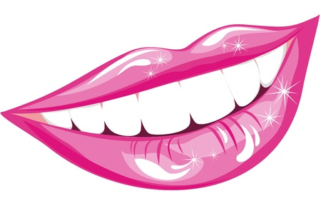 Beautiful smiling mouth with healthy teeth isolated on white Stock Vector - 16543526