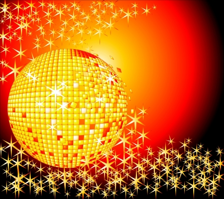 Sparkling golden disco ball with golden stars burstin out from behind Vector