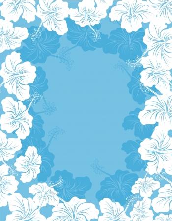 hawaii islands: Hibiscus flower frame