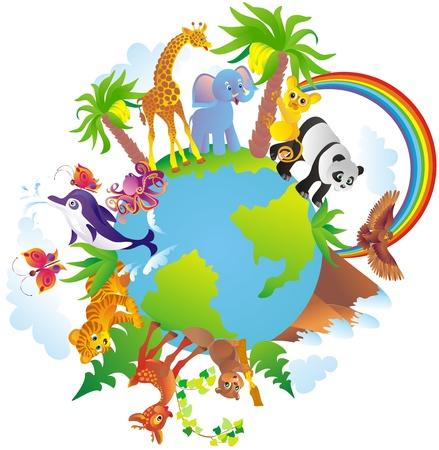 amor al planeta: Animales de dibujos animados caminar alrededor de un globo