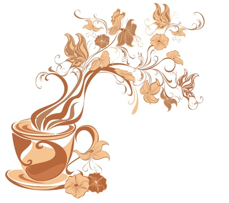 Floral tea with fragrant flower steam isolated on a white Vector