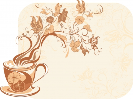 brown: Floral tea with fragrant flower steam