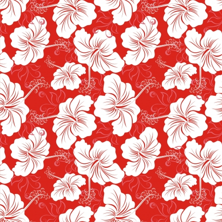 beautiful red hibiscus flower: Seamless background with hibiscus flower  Hawaiian patterns