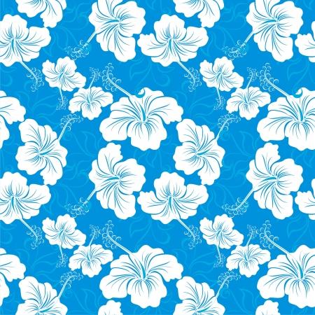 hawaiana: Fondo incons�til con dibujos de flores de hibisco hawaiano Vectores