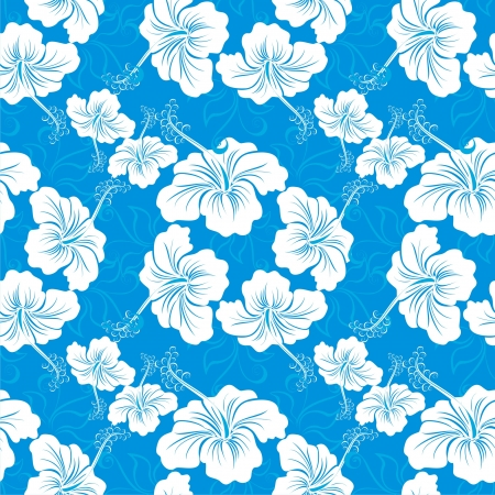 aloha: Seamless background with hibiscus flower  Hawaiian patterns