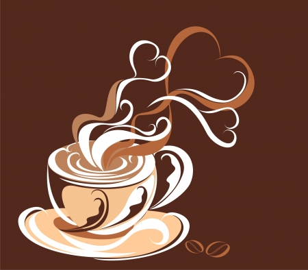 latte art: Love coffee  Coffee with steam form of hearts Illustration