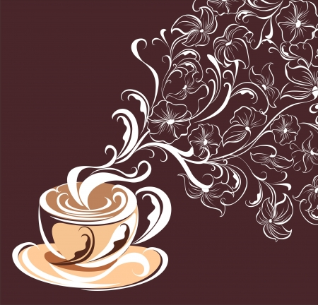 Floral tea with fragrant flower steam Vector