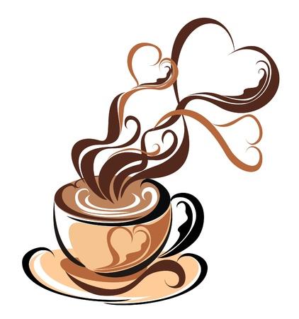 tasse caf�: Amour caf� caf� avec de la vapeur sous forme de coeurs