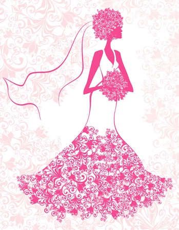 wedding veil: Bride on the romantic pink floral background