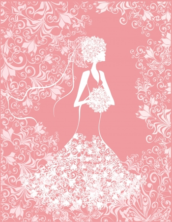 Bride on the romantic pink floral background  Vector