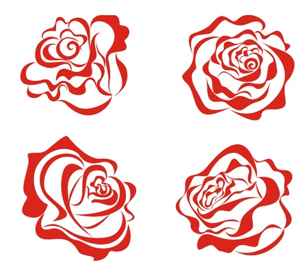 Stylized red roses isolated on white background Stock Vector - 16561225