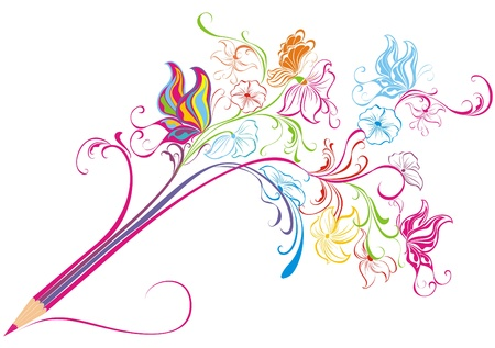 crayon de couleurs: Creative Art floral concept de crayon, illustration Illustration