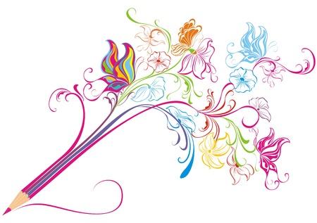 creative tools: Creativo floreale matita Arte concetto, illustrazione
