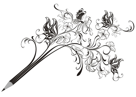 writing paper: Creative floral pencil  Art concept, illustration