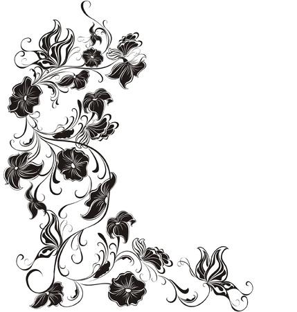 black and white plant: Decorative floral frame, element for design