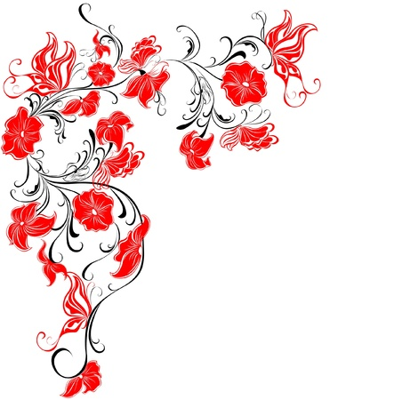 floral scroll: Decorative floral frame, element for design
