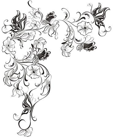 autumn flowers: Decorative floral frame, element for design