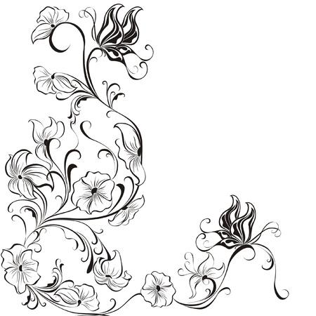 black branch: Decorative floral frame, element for design