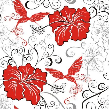 beautiful red hibiscus flower: Hawaiian patrones sin fisuras con hibiscos y Colibr�es