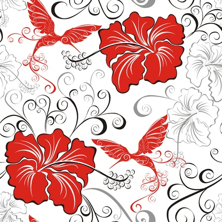 beautiful red hibiscus flower: Hawaiian seamless patterns with hibiscus and Hummingbirds Illustration