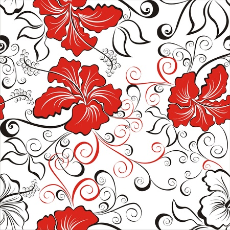 beautiful red hibiscus flower: Fondo incons�til con dibujos de flores de hibisco hawaiano Vectores
