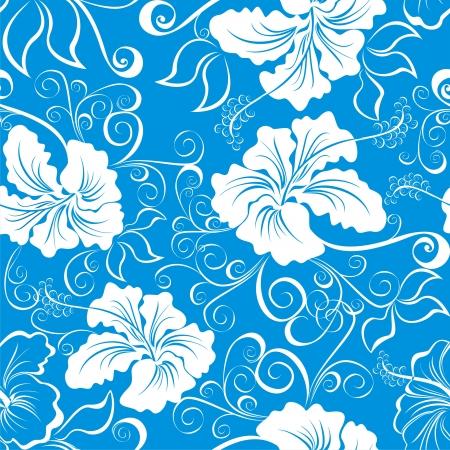 hawaiana: Fondo inconsútil con dibujos de flores de hibisco hawaiano Vectores