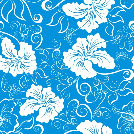 imagery: Seamless background with hibiscus flower  Hawaiian patterns