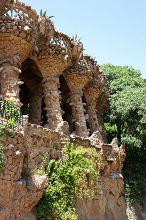 guell: Columns in Park Guell, Barcelona, Spain