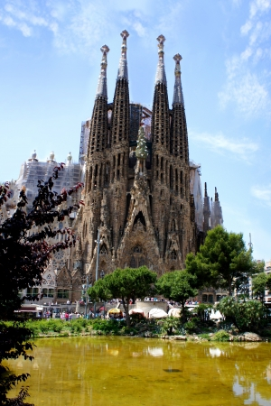 BARCELONA, SPAIN - MAY 28: La Sagrada Familia on May 28,2012, designed by Antoni Gaudi. Is a large Roman Catholic church in Barcelona, which is being build since March 19,1882 and is not finished yet