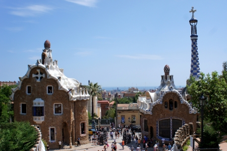 Famous Park Guell in Barcelona, Spain. Designed by Antoni Gaudi.