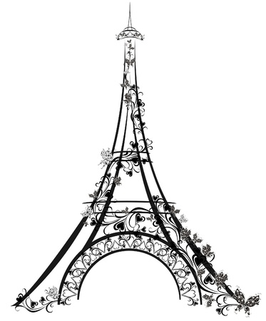 butterfly isolated: Eiffel Tower, Paris, France
