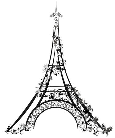 tekening vlinder: Eiffeltoren, Parijs, Frankrijk