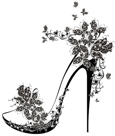 shoe sale: Shoes on a high heel decorated with flowers and butterflies