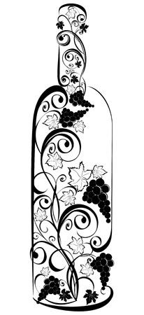 clip art wine: Stylized wine bottle