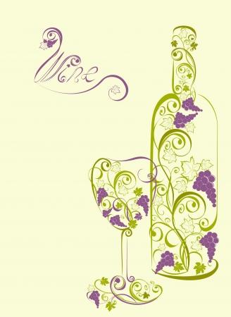clip art wine: Stylized wine bottle and wine glass