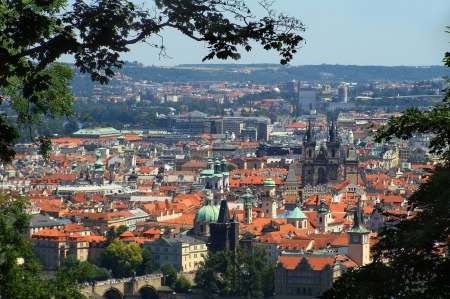 panoramatic: Panoramatic view of the Prague city centre from the Petrin Hill