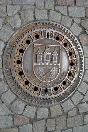 sewer: Manhole cover in Prague, Czech Republic