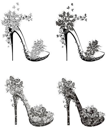 chaussure: Collection de chaussures de mode des talons hauts Illustration
