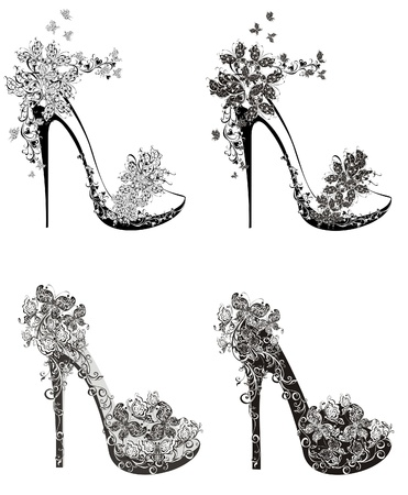 high fashion: Collection of fashion high heels shoes