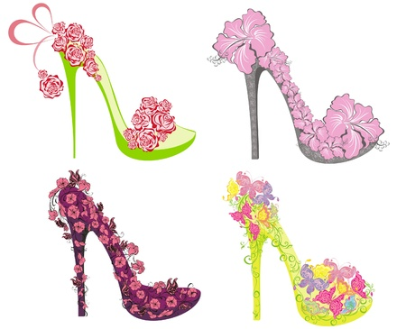 Collection of fashion high heels shoes Vector