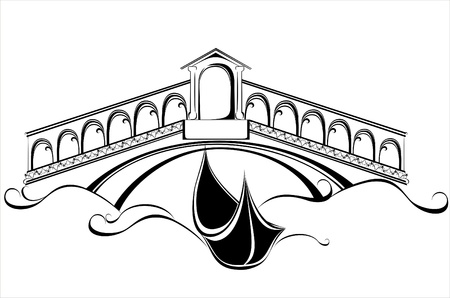 rialto bridge: Venice landscape with gondola boat and bridge Illustration