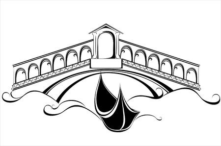 Venice landscape with gondola boat and bridge