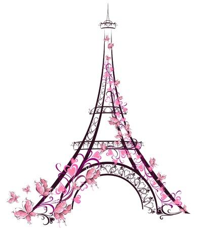 La Torre Eiffel, París, Francia Ilustración de vector