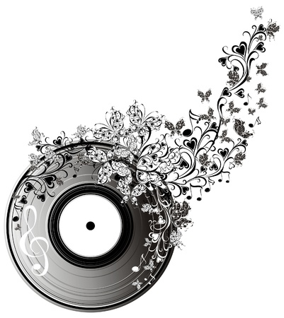 Musical disk with butterflies  Floral record Stock Vector - 16947825