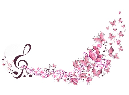 musical ornament: Musical notes with butterflies  Illustration