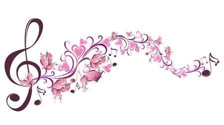 Muzieknoten met vlinders