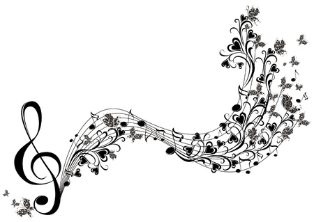 treble clef: Musical notes with butterflies