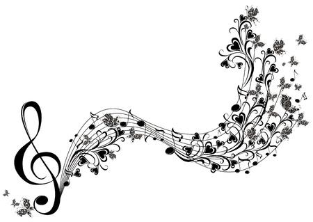 clave de sol: Notas musicales con las mariposas