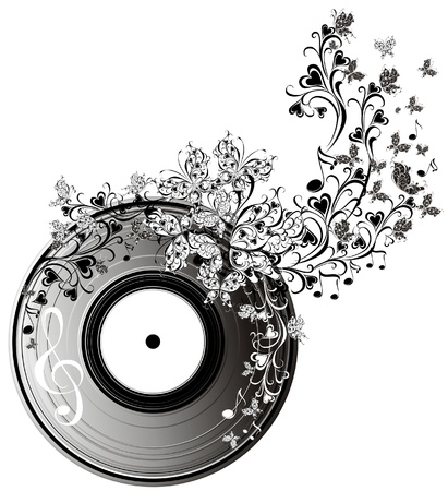 Musical disk with butterflies  Floral record  Vector
